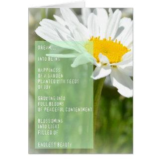 Tarjeta inspirada del poema ideal de la margarita