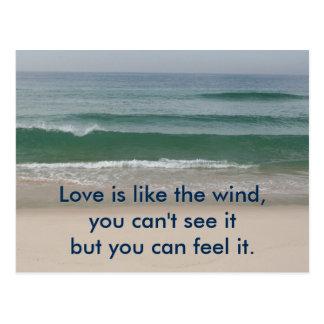Tarjeta inspirada: El amor es como el viento