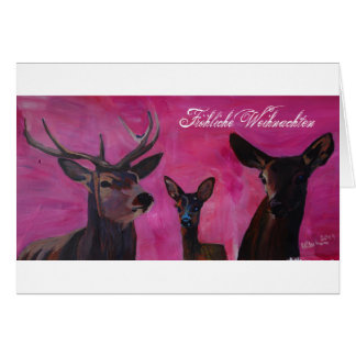 Tarjeta Invierno Deer Family de las navidades Joviales