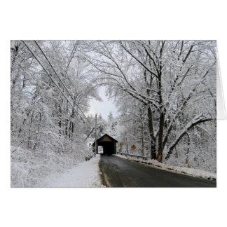 Tarjeta Invierno inminente - puente cubierto de Coombs