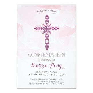Tarjeta Invitación, cruz y acuarela de la confirmación del