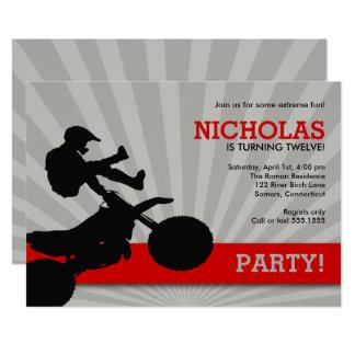 Tarjeta Invitación, rojo y negro de Dirtbike del motocrós