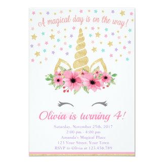 Tarjeta Invitación, rosa y oro del cumpleaños del