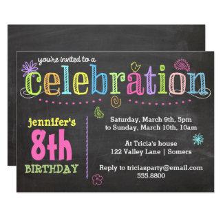 Tarjeta Invitación-Tiza de la fiesta de cumpleaños + Neón