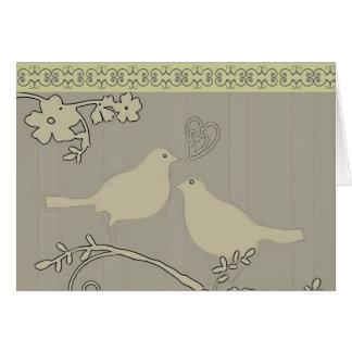 Tarjeta/invitaciones del ~ de dos pájaros del amor