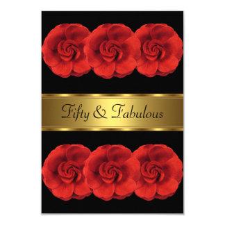 Tarjeta Invite a 50.o fabuloso del oro negro de las flores