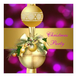 Tarjeta Invite al rosa púrpura de las bolas del oro de la