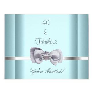 Tarjeta Invite azul fabuloso del arco de la plata del