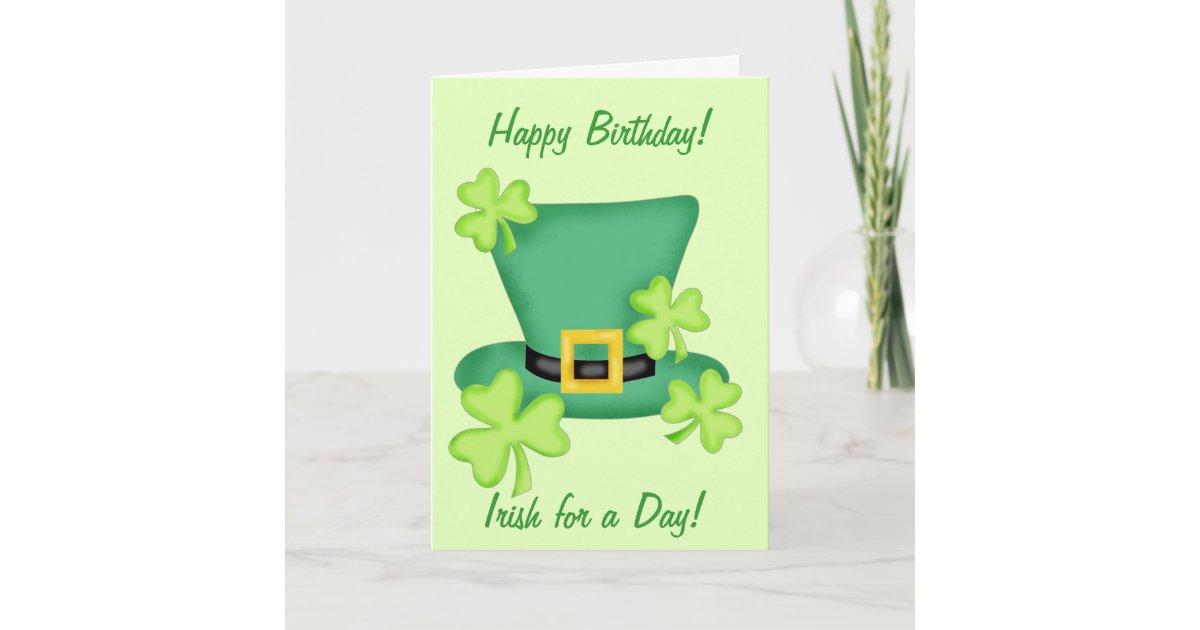 Tarjeta Irlandés para un trébol del feliz cumpleaños del | Zazzle.es