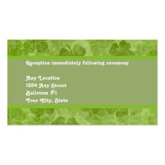 Tarjeta irlandesa verde de la recepción nupcial de tarjetas de visita