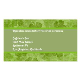 Tarjeta irlandesa verde de la recepción nupcial tarjetas de visita