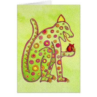 Tarjeta Jaguar que come el corazón (wc verde del lt)