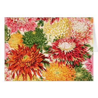 Tarjeta japonesa del crisantemo de la tela de