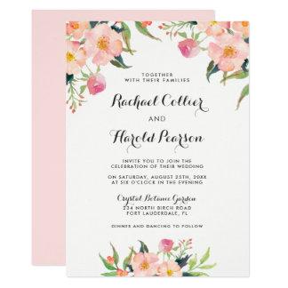 Tarjeta Jardín botánico de la acuarela del boda floral
