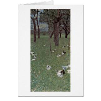 Tarjeta Jardín con los pollos de Gustavo Klimt