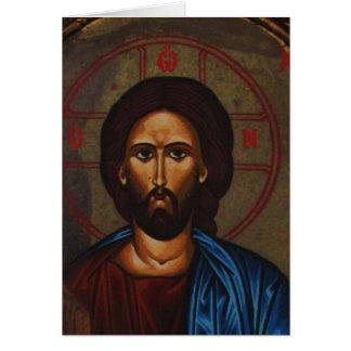 Tarjeta JESUCRISTO ortodoxo griego bizantino del icono