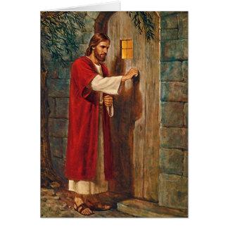 Tarjeta Jesús golpea en la puerta con verso completo