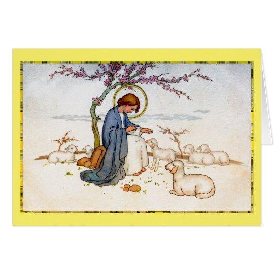 Tarjeta Jesús religioso clásico con los deseos de Pascua