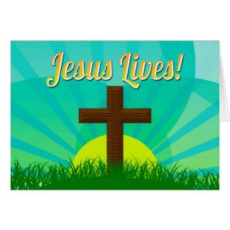 Tarjeta Jesús vive azul/cruz cristiana de Brown Pascua