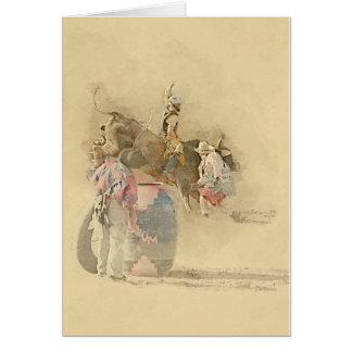 Tarjeta jinete de Bull del rodeo