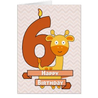 Tarjeta Jirafa del dibujo animado para el cumpleaños del
