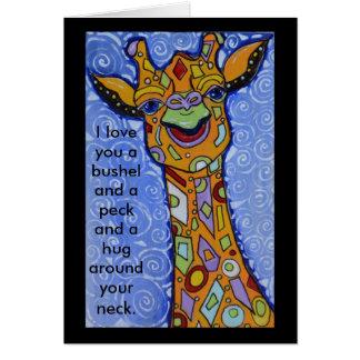 Tarjeta Jirafa feliz te amo un celemín y un abrazo del