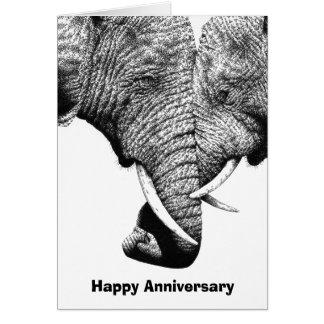 Tarjeta joven del aniversario de los elefantes