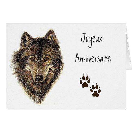 Tarjeta Joyeux Anniversaire, lobo, lobos, animal
