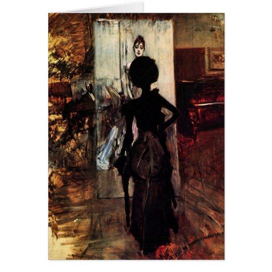 Tarjeta Juan Boldini - mujer delante de la pintura