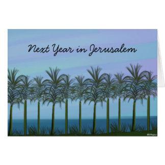 Tarjeta judía del Año Nuevo de las palmeras,…