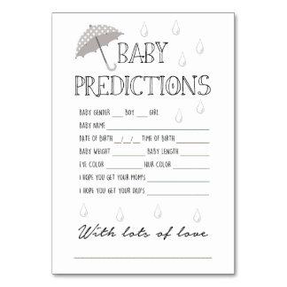 Tarjeta Juego de las predicciones del bebé para la fiesta