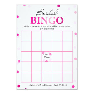 Tarjeta Juego magenta rosado nupcial del confeti del bingo