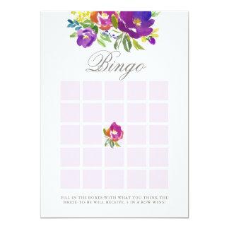 Tarjeta Juego nupcial floral violeta romántico del bingo
