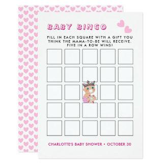 Tarjeta Juego rosado del bingo del bebé de la princesa