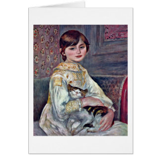 Tarjeta Julia Manet con el gato de Pierre-Auguste Renoir