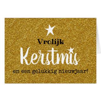 Tarjeta Kerstkaart glitter en glamour goud ster
