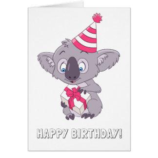Tarjeta Koala con un presente de cumpleaños