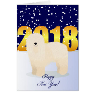 Tarjeta Komondor de la Feliz Año Nuevo