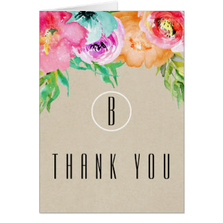 Tarjeta Kraft moderno rústico floral colorido le agradece