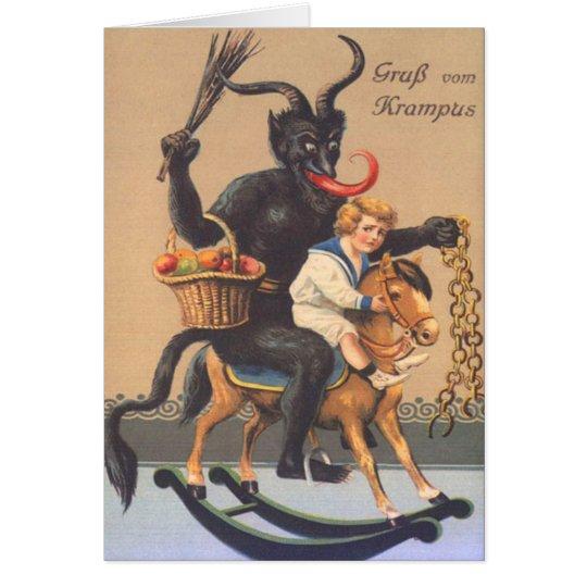 Tarjeta Krampus que monta Hobbyhorse con el muchacho