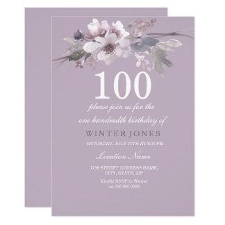 Tarjeta La 100a fiesta de cumpleaños floral púrpura