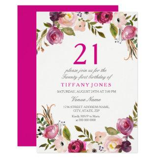Tarjeta La 21ra fiesta de cumpleaños floral botánica