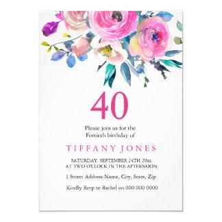 Tarjeta La 40.a fiesta de cumpleaños floral colorida