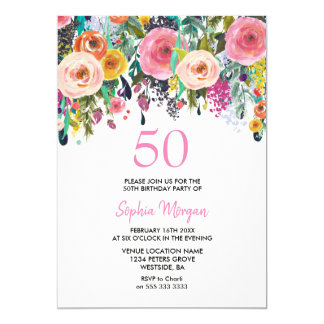 Tarjeta La 50.a fiesta del cumpleaños de la mujer invita a