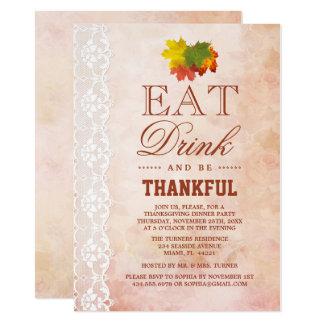 Tarjeta La acción de gracias elegante del follaje de otoño
