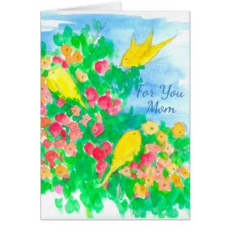 Tarjeta La acuarela amarilla de los pájaros florece el día