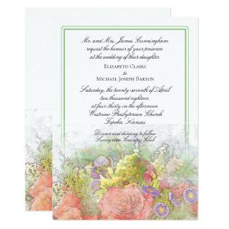 Tarjeta La acuarela de la primavera florece el boda