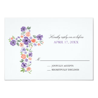 Tarjeta La acuarela púrpura florece la primera comunión de