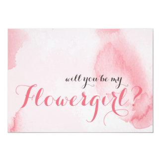 Tarjeta La acuarela rosada el | usted será mi Flowergirl