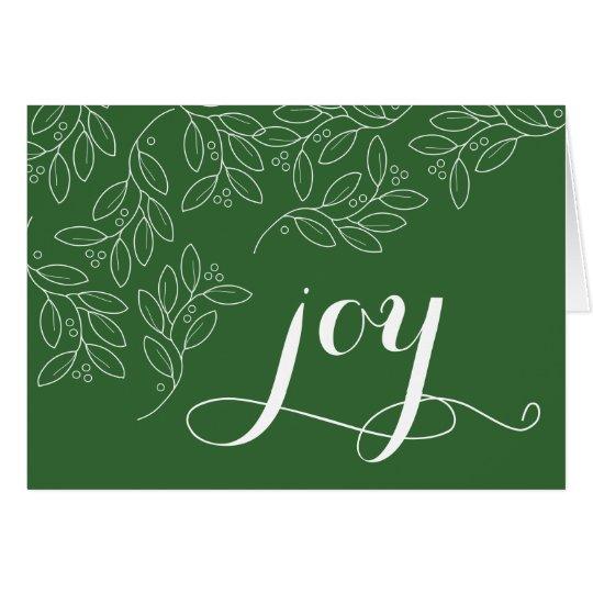 Tarjeta La alegría, mano dibujada deja el navidad que